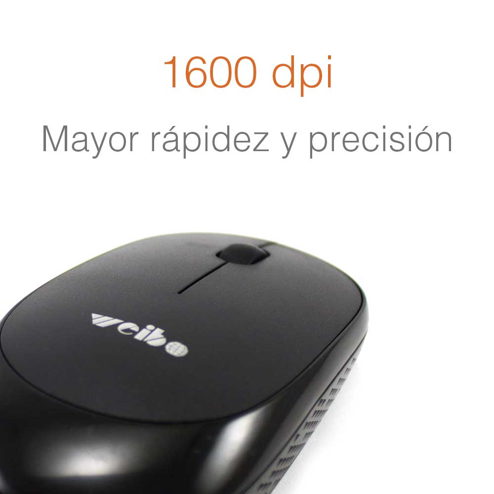 Mouse Inalambrico Optico 2.4 ghz 1600 dpi Alta precision Negro