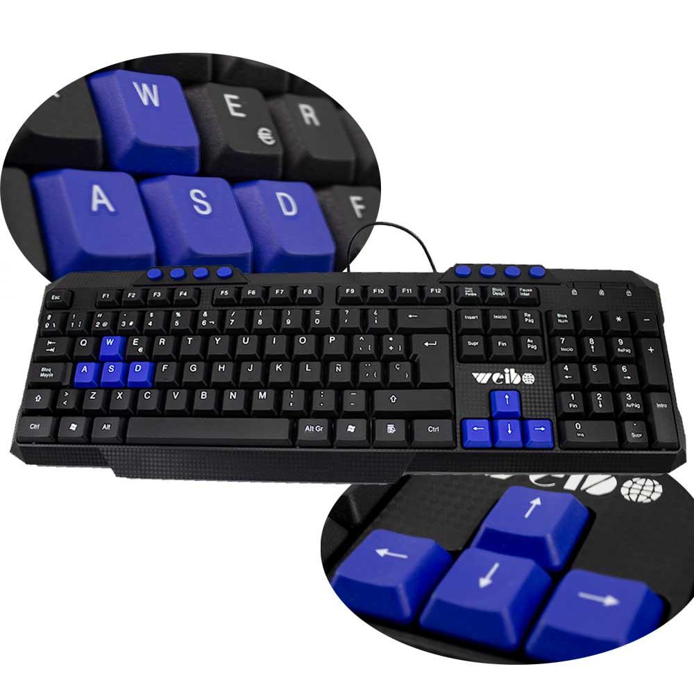Teclado Keyboard alambrico botones WSDA y flecha rojos a prueba de agua