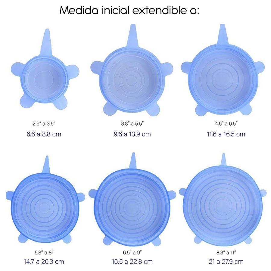 Tapaderas Elasticas Silicon Reutilizables 6 piezas