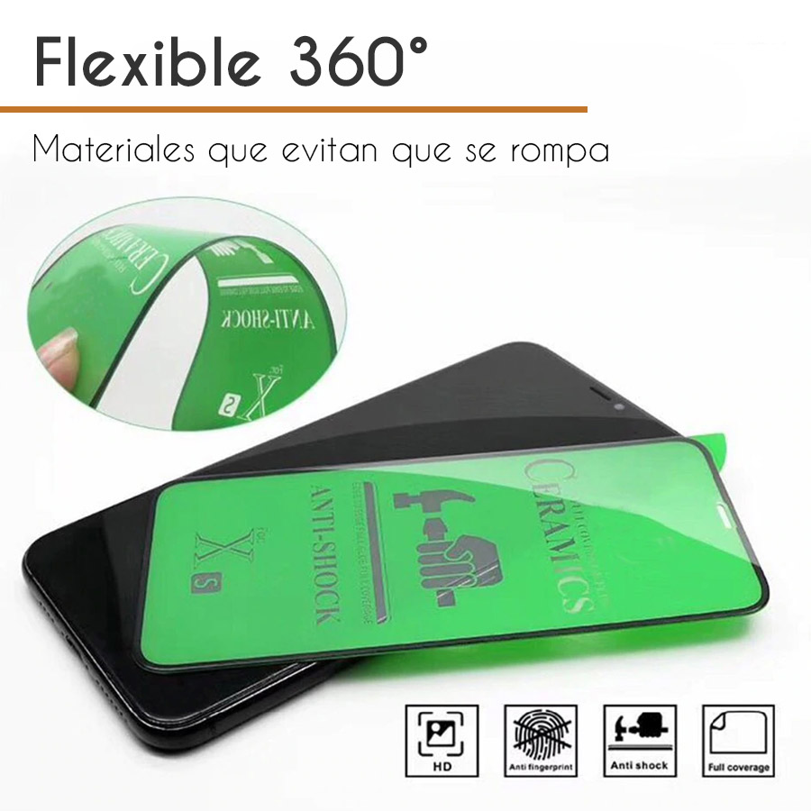 Mica Cerámica Protector de Pantalla Full Cover AntiShock Apple iPhone X, iPhone XS