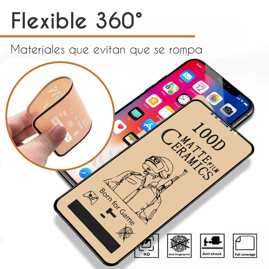 Mica Cerámica Mate Protector de Pantalla Full Cover Gamer Apple iPhone XR Negro