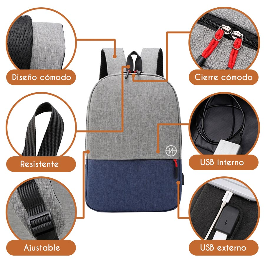 Nasty Smart Backpack Mochila Impermeable Escolar Casual Laptop con Puerto USB V152