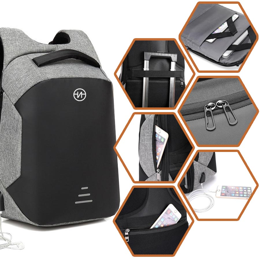 Nasty Backpack Mochila Antirrobo Casual Escolar Impermeable con Puerto USB V1913