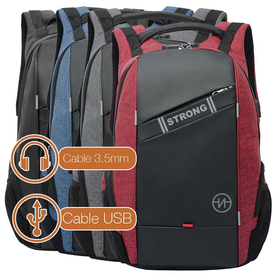 Nasty BackPack Mochila Escolar Impermeable Laptop Antirrobo con Candado y Puerto USB V212