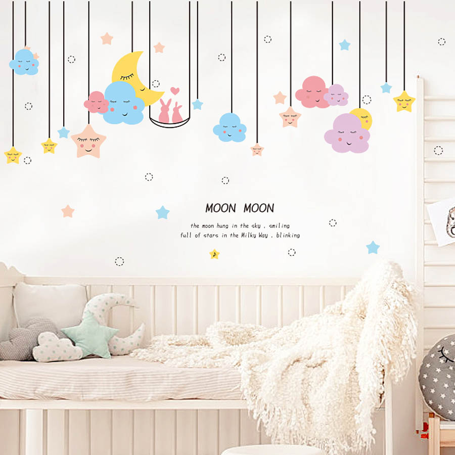 Pegatinas Pared Niños Wall Stickers Luna y Nubes