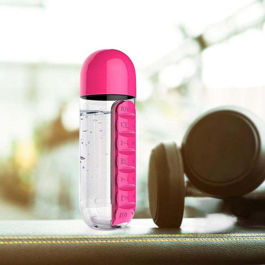 Botella De Agua Pastillero 600 Ml Libre De Bpa
